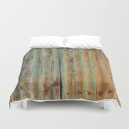 corrugated rusty metal fence paint texture Duvet Cover