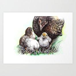 broody / watercolor / fineliner Art Print