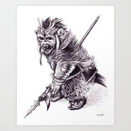 Ancient Warrior Monkey, pencil portrait Art Print