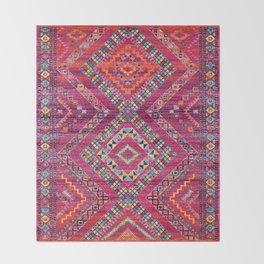 N118 - Pink Colored Oriental Traditional Bohemian Moroccan Artwork. Throw Blanket