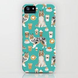 Shetland Sheepdog blue merle sheltie dog breed coffee pattern dogs portrait sheepdogs art iPhone Case