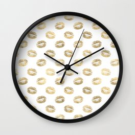 White & Gold Lip Pattern Wall Clock