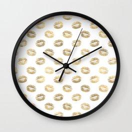 White & Gold Lip Pattern Wall Clock