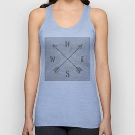 Compass Black and White Tree Unisex Tank Top