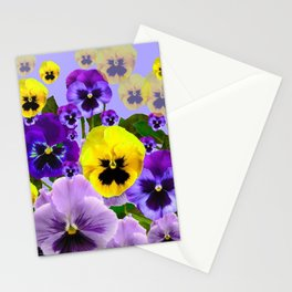 SPRING PURPLE & YELLOW PANSY FLOWERS Stationery Cards