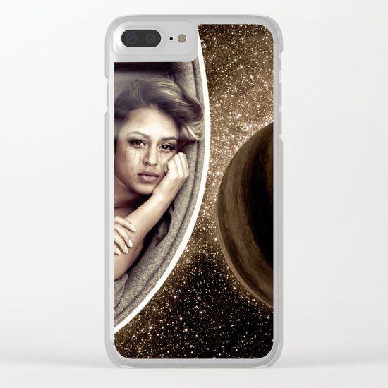 Sad walk in Space Clear iPhone Case