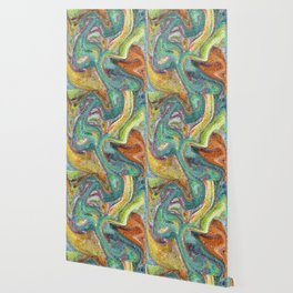 Turquoise, Copper, Gold, Green, Mosaic Design Wallpaper