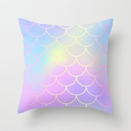 Pink Blue Mermaid Tail Abstraction Throw Pillow