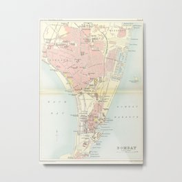 Vintage Map of Bombay India (1893) Metal Print