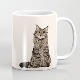 Maine Coon sitting cat portrait cute cat lady gift idea for cat owner cat lover animal pet friendly  Coffee Mug