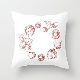Line Art Fruits Throw Pillow