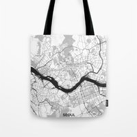seoul Tote Bags featuring Seoul Map Gray by City Art Posters