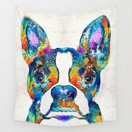 Colorful Boston Terrier Dog Pop Art - Sharon Cummings Wall Tapestry
