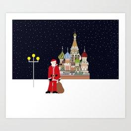Santa in Moscow Art Print