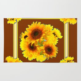 CHOCOLATE BROWN YELLOW SUNFLOWER BOUQUETS Rug