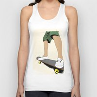 skate Tank Tops featuring skate by the lazy pigeon