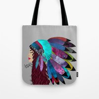 native american Tote Bags featuring native american  by Lunah