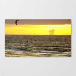 Windsurfing with sunset Canvas Print