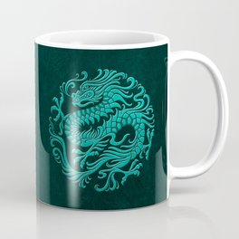 Traditional Teal Blue Chinese Dragon Circle Coffee Mug
