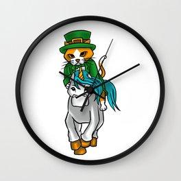 Leprechaun Cat Riding A Unicorn St. Patricks Wall Clock
