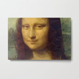 Mona Lisa Low Poly Geometric Triangles Metal Print