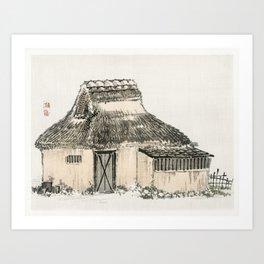 Cottage by Kono Bairei (1844-1895) Art Print