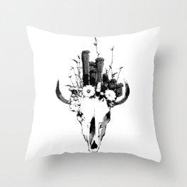 Skull and Desert Plants Throw Pillow