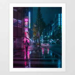 Japanese walking home on a rainy night in Tokyo Art Print