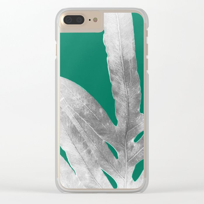 Christmas Fern, Holiday Green with Silver Winter Leaf Clear iPhone Case