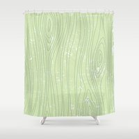 woody Shower Curtains featuring Woody by Sarah McMahon