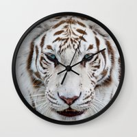 tiger Wall Clocks featuring TIGER TIGER by Catspaws