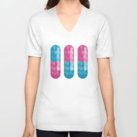 pills V-neck T-shirts featuring Pills by SolaKida