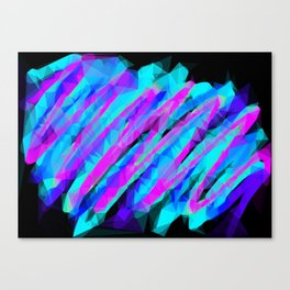 psychedelic geometric polygon abstract in pink blue with black background Canvas Print