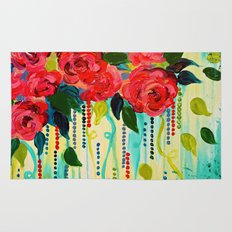ROSE RAGE Stunning Summer Floral Abstract Flower Bouquet Feminine Pink Turquoise Lime Nature Art Rug