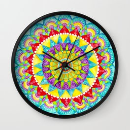 Mandala of Many Colors on Turquoise Wall Clock