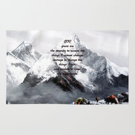 Serenity Prayer With Panoramic View Of Everest Mountain Rug