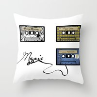 tape Throw Pillows featuring tape by Jeffrey Bourgeois