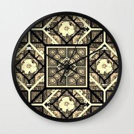 Cherokee Rose Pattern 1 black and white Wall Clock