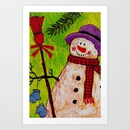 Snowman and Broom Art Print