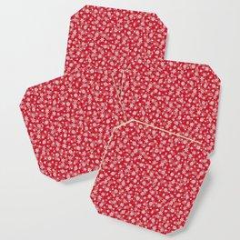 Christmas Red Poinsettia Snow Flakes Coaster