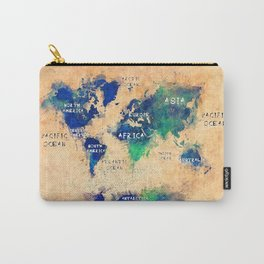 world map oceans and continents 4 Carry-All Pouch