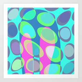 Nouveau Retro Graphic Teal Blue Pink Purple Art Print