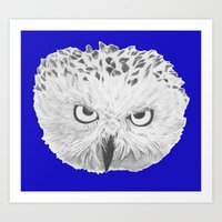 Snowy Owl Bright Blue Art Print