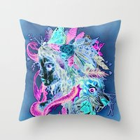 beast Throw Pillows featuring BEAST by Tim Shumate
