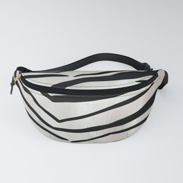 Safari Striped Zebra Pattern, Animal Print, Black, White, Gray Fanny Pack