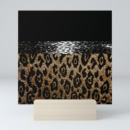 ANIMAL PRINT BLACK AND BROWN Mini Art Print