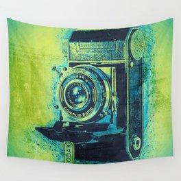 Green Retro Vintage Kodak Camera Wall Tapestry