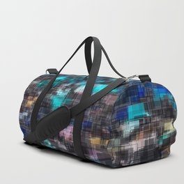 psychedelic geometric square pattern abstract background in blue pink and black Duffle Bag