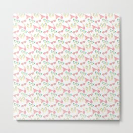 Beach clothes and drinks pattern Metal Print