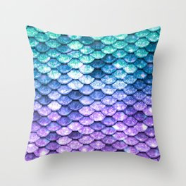 Mermaid Ombre Sparkle Teal Blue Purple Throw Pillow